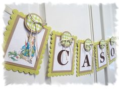 PETER RABBIT Nursery Banner- what I decorated Tori's nursery in.