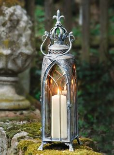 """Metal lantern """"Cathedral"""" large now for buy at Frank Flechtwaren and Deko Online Shop Lantern Lamp, Candle Lanterns, Candle Sconces, Oil Lamps, Shabby Chic Furniture, Lamp Light, Architecture Design, Candle Holders, Wall Lights"""
