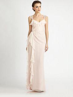 Badgley Mischka - Ruffled Silk Gown - Saks.com