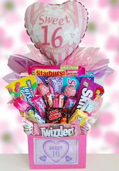 Sweet 16 Birthday Candy Basket from All About Gifts and Basket Sweet Sixteen Themes, Sweet Sixteen Gifts, Sweet 16 Gifts, Sweet Sixteen Parties, Sweet 16 Presents, Birthday Candy, Sweet 16 Birthday, Birthday Basket, Teen Birthday