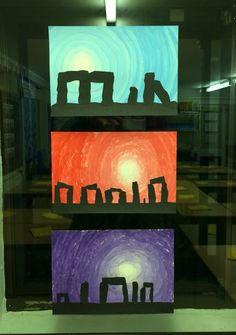 Stonehenge paintings - Year 3   Following a trip to Stonehenge (linking to our Stone Age topic) the children created these amazing paintings. We practiced colour blending for the background, then cut out 'stones' from black sugar paper for the foreground. Stonehenge, Stone Age Ks2, Prehistoric Age, Pop Up Karten, 6th Grade Art, Ecole Art, We Will Rock You, Amazing Paintings, Middle School Art