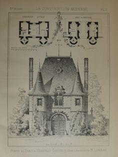 Antique French Architectural Print 1896.