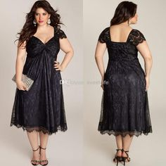 Wholesale Mother of the Bride Dresses - Buy 2014 Sexy Black Plus Size Mother of the Bride Dresses Tea Length Sweetheart Lace Groom Mother Dress Formal Dresses Party Dress Capped Custom, $111.96 | DHgate