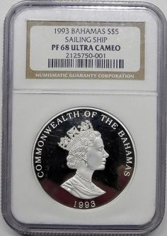 1993 Bahamas S $5 Sailing Ship Graded NGC PF 68 Ultra Cameo Proof 925 Silver