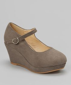 Look at this #zulilyfind! QQ Girl Gray Lovely Stitched Wedge Mary Jane by QQ Girl #zulilyfinds