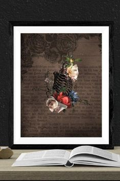 The flowers bloom where they may. They chose the habitat which suited the environment in which they grew. Dark and brooding, the flowers are cheery, almost. Goth Home Decor, Dramatic Arts, Gothic Aesthetic, Bold Prints, Bold Colors, Vintage Posters, Printable Art, Skeleton, Alternative