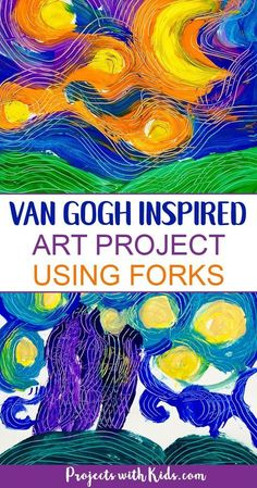 Paint Van Gogh's Starry Night using forks! Learn about creating movement and texture in painting like Van Gogh with this fun and engaging art project that will have your kids wanting to paint with forks over and over again! Art Lessons For Kids, Art Lessons Elementary, Art For Children, Children Painting, Art Kids, Kindergarten Art, Preschool Art, Kids Painting Activities, Van Gogh For Kids