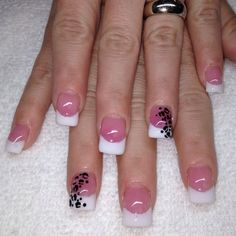 French with Animal Print Nails