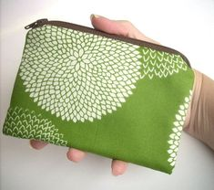 Earth Green Leaf Little Zipper Pouch ECO Friendly Padded Coin Purse by JPATPURSES