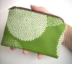 Little Zipper Pouch Earth Green Leaf ECO Friendly Padded by JPATPURSES, $9.00