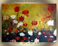 "Fine Art IMPASTO Painting ""Colors of Nature "" 24 x 36 x 1 3/4  OIL ...HUGE handpainted On Canvas large Sides...... Impasto thick textures"