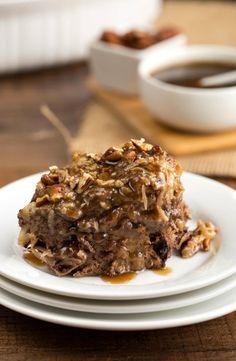 German Chocolate Cake Bread Pudding   http://www.ihearteating.com   #chocolate #breadpudding