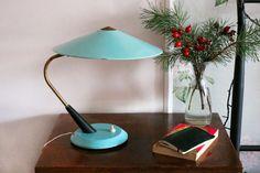RARE Soviet Desk Lamp / Light Blue Metal & Brass USSR Vintage Library Lamp Shade / Flying Saucer Aqua Table Top Lamp / Reading Side Light