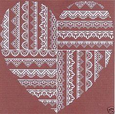 grille point de croix - COEUR de DENTELLES N°2 Cross Stitch Floss, Cross Stitch Heart, Modern Cross Stitch, Cross Stitch Embroidery, Hand Embroidery, Wedding Cross Stitch Patterns, Cross Stitch Designs, Art Du Fil, Knitting Designs