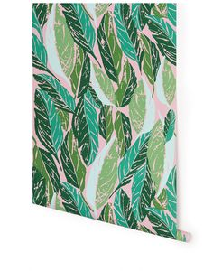 Designed by Justina Blakeney for Hygge & West, the Nana wallpaper was inspired by the regal leaf of the banana tree. The large leaf motif is meant to provid