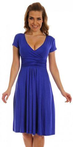 Glamour Empire Women's Knee Length Short Sleeve Jersey Skater Summer Dress 108 at Amazon Women's Clothing store: