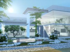Modern Home featuring kitchen,dining area with fireplace,and livingroom. Found in TSR Category 'Sims 4 Residential Lots'