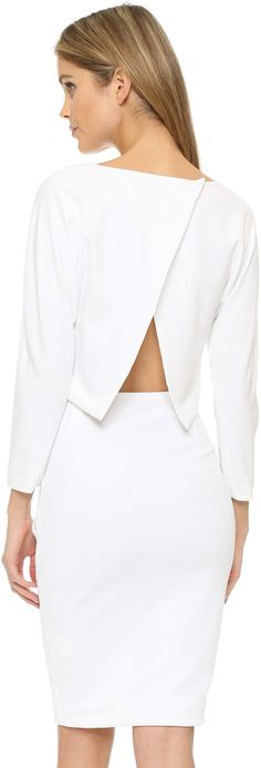 Open in the back dress is modern style in white, ST Olcay Gulsen Batwing Open Back Dress
