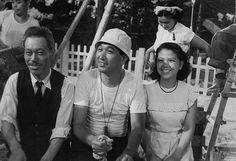 """Akira Kurosawa, Takashi Shimura, and Miki Odagiri on the set of """"Ikiru""""."""