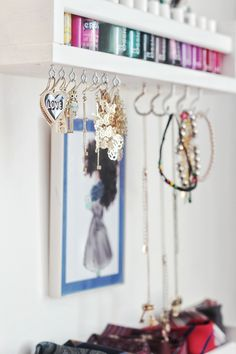 Ikea spice rack to organize jewelry and nail polish, girls room