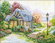 Free cross stitch pattern Home Sweet Home. Supplies: DMC 100 cotton floss 43 colors Fabric Aida 14 count 1 needle Finished size cm I card - Cross Stitch House, Cross Stitch Art, Cross Stitch Alphabet, Cross Stitch Flowers, Cross Stitch Designs, Cross Stitching, Cross Stitch Embroidery, Free Cross Stitch Charts, Counted Cross Stitch Patterns