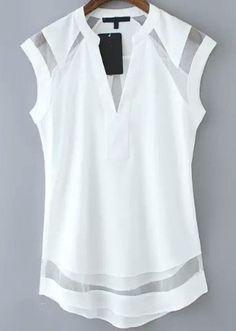 2fa5ae771e3bb5 White V Neck Mesh Sleeveless Blouse Sheer White Shirt