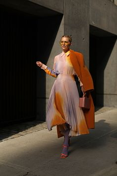 Walking on Sunshine // Blair wearing a dip dye silk blouse and matching pleated midi skirt in lavender and clementine from A.L.C. // Ankle strap sandals in bright orange from Topshop // Click through see more skirt images as well as spring shoes picks from Nordstrom on Atlantic-Pacific