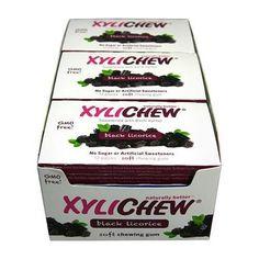 Xylichew Gum - Black Licorice - Counter Display - 12 Pieces - 1 Case