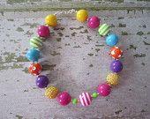 Candyland Sweet Shoppe Rainbow Inspired Chunky Bead Necklace