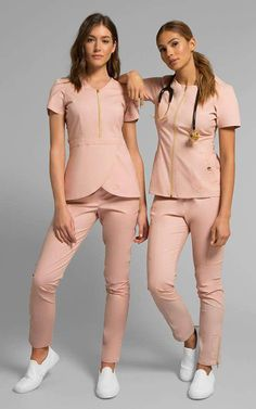 Blush pink scrubs by Jaanuu Medical Uniforms, Work Uniforms, Nursing Uniforms, Dental Scrubs, Cute Medical Scrubs, Cute Nursing Scrubs, Nurse Scrubs, Stylish Scrubs, Professional Outfits