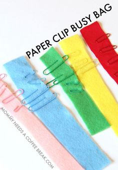 Color matching paper clip busy bag activity for kids