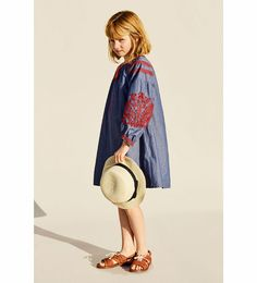 embroidered dress in denim and red