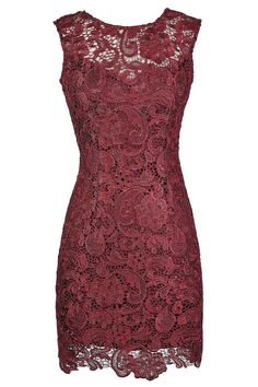 Alythea Metallic Lace Overlay Fitted Dress in Burgundy