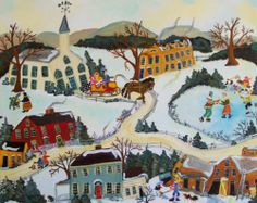 Winter Folk Art Painting Ice Skating and Olde Tyme Horse and Sleigh ~ by self-taught artist Sharon Eyres