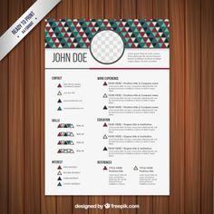 Triângulos projeto currículo Vetor grátis Triangle Design, Resume Design, Vector Free, Typography, Graphic Design, Temple, Editorial, Inspiration, Packaging