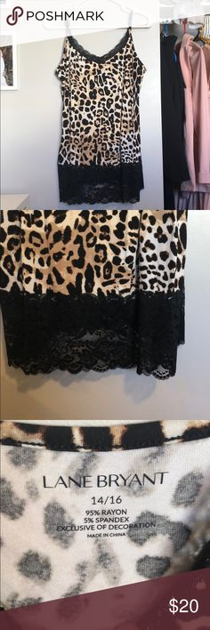 🔷 Cheetah Print Tank Top Really cute tank! New with tags! Has lace around the neckline and on the bottom. Fun to layer with. Has adjustable straps. Another color in my closet too!   Measurements:  Length: about 29 inches  Bust: about 20 inches laying flat Lane Bryant Tops Tank Tops
