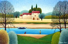 The Two Fishermen by Cesare Novi - GINA Gallery of International Naive Art