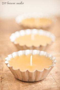 DIY beeswax candles in little tart tins make perfect favors!