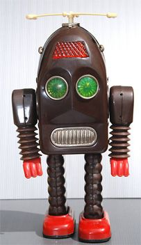 Thunder Robot (Asakusa, in Black with colorful details. Such fun & Games with Robot Characters! Via Astounding Artifacts R Robot, Retro Robot, Smart Robot, Vintage Robots, Vintage Toys, Robot Theme, Robots Characters, Space Toys, Tin Toys