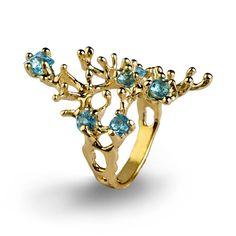 REEF Gold Blue Topaz Ring Gemstone Ring Gold Statement Ring