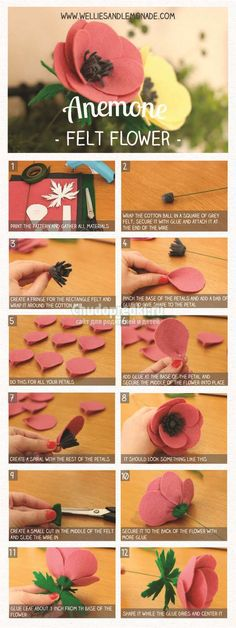 Anemone felt flower step by step tutorial and free pattern included. Click…… Anemone felt flower step by step tutorial and free pattern included. Click… Anemone felt flower step by step tutorial and free pattern included. How To Wrap Flowers, Diy Flowers, Fabric Flowers, Paper Flowers, Ribbon Flower, Felt Diy, Felt Crafts, Fabric Crafts, Felt Flower Tutorial