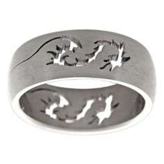 Men's Titanium Band with Cut-out Dragon Design (8 mm) (Size 13), Silver