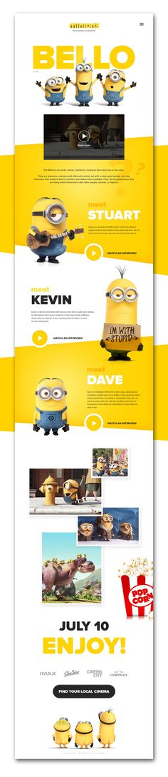 Minions homepage, Web Design, One Page Site Web Design, Design Sites, Web Design Mobile, Web Design Tips, Web Design Trends, Email Design, Page Design, Flat Design, Website Designs