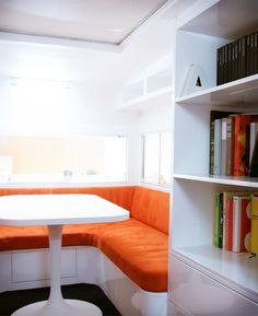 """""""Lining the wall"""" seating or benches?    (interior of the stylish rv)"""