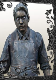 create a metallic living statue costume with well-executed realistic patina