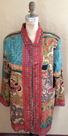 Sandy Starkman Patchwork Coat in Rust and Green Tones. via Etsy.