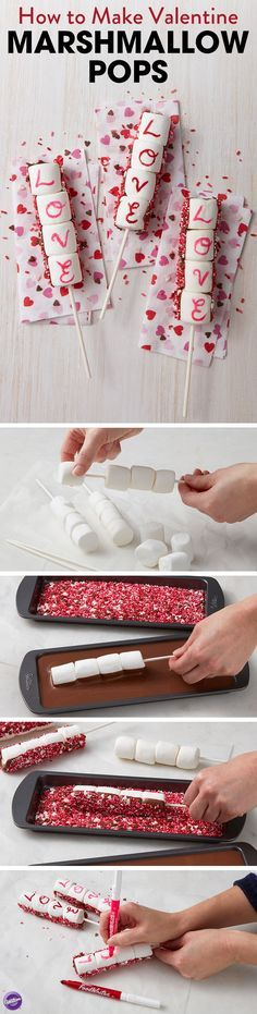 How to Make Valentine Marshmallow Pops - Lightly grease lollipop sticks. Slide four marshmallows onto each stick, then dip back side of marshmallow pops into melted Candy Melts and into sprinkle mixtu (Cake Originales) Chocolate Dipped Marshmallows, How To Make Marshmallows, Recipes With Marshmallows, Valentine Chocolate, Easter Chocolate, Cake Chocolate, Candy Melts, Valentines Day Treats, Holiday Treats