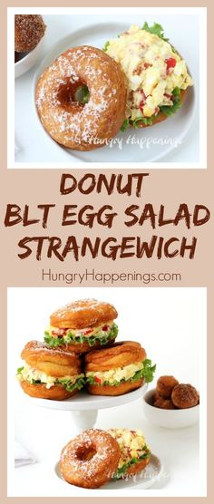 You'll never serve egg salad on white bread again once you try this Donut BLT Egg Salad Strangewich. This unusual sandwich is even better than it looks, and it looks pretty amazing! Diner Recipes, Kitchen Recipes, Breakfast Recipes, Diner Food, Keto Recipes, Cooking Recipes, Egg Salad Sandwiches, Sandwich Recipes, Blt Salad