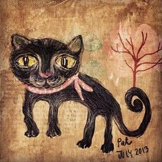 Painting - Black Cat by Patcharaporn Kamonpet , Nine Thousand, Cat 2, Cubism, Old Pictures, Moose Art, Kitty, Black Cats, Crafts, Animals