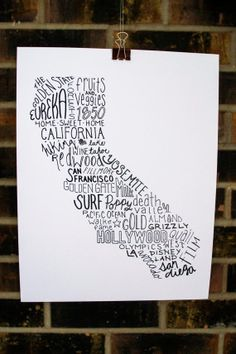 State of California Typography Print by TheDraftingRoom on Etsy, $8.95